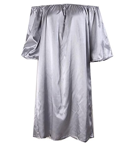 Jaycargogo Shoulder Sleepwear Womens Satin Off Sleeve Grey Half Dress OOWfrBaqUx