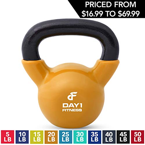 Kettlebell Weights Vinyl Coated Iron by Day 1 Fitness- 20 Pounds - Coated For Floor and Equipment Protection, Noise Reduction - Free Weights For Ballistic, Core, Weight Training