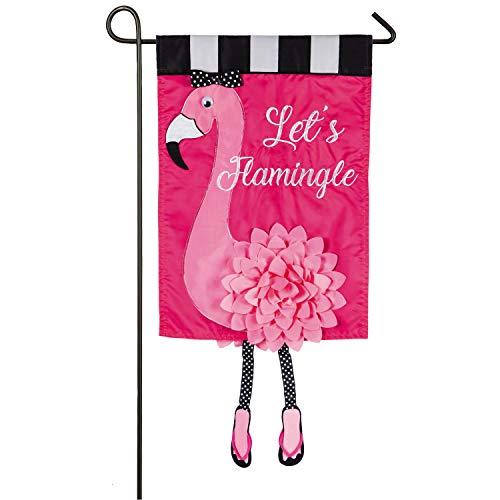 Evergreen Flag Let's Flamingle Applique Garden Flag