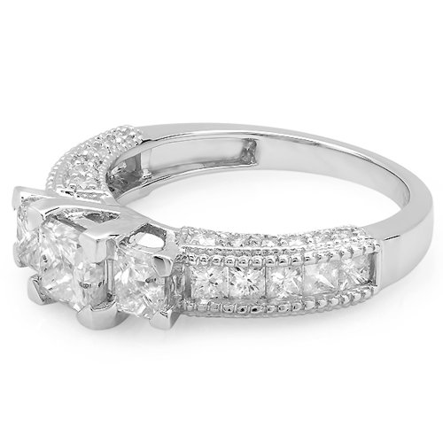 1.65 Carat (ctw) 14k White Gold Princess & Round Diamond Ladies Semi Mount Bridal Ring (No Center Stone)