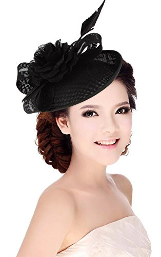 La Vogue Women Sinamay Flower With Hair Clip Fascinator Feather Tea Party Derby Black