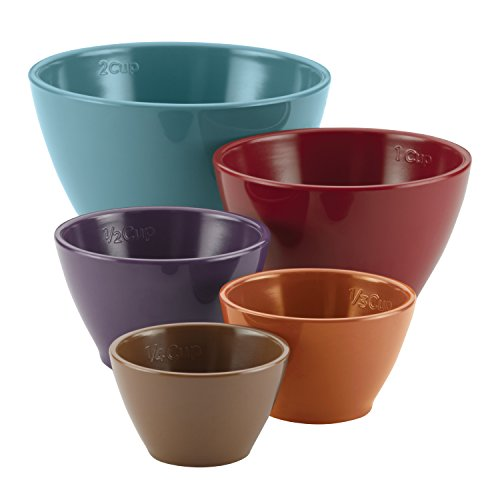 Rachael Ray Cucina Melamine Nesting Measuring Cups, 5-Piece Set, Assorted (Bowls Silicone Measuring)