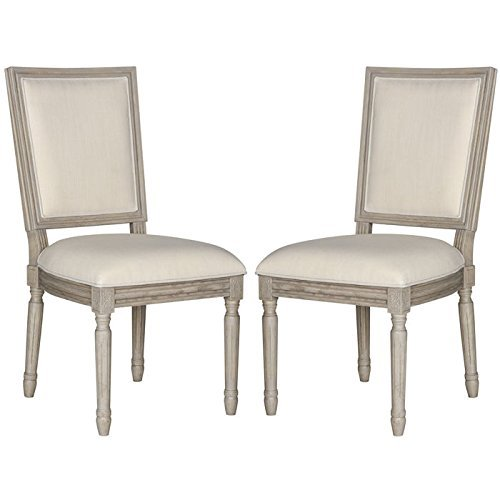 Safavieh Home Collection Buchanan French Brasserie Light Beige Linen & Rustic Grey Rectangle Side Chair (Set of 2), 19