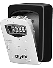 Diyife Key Lock Box, [Waterproof Version][Wall Mounted] Combination Key Safe Storage Zinc Alloy Lock Box with Slide Cover, 4 Digit Combination for Airbnb Home Garage School House Spare Keys