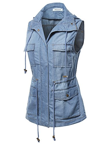 Made by Emma Women's Casual Denim Sleeveless Military Safari Utility Drawstring Hoodie Vest