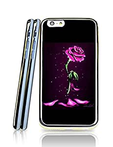 Iphone 6 6s(4.7 inch) Funda Case - 2 in 1 Disney Beauty and the Beast Rose Drop Protection Cute Pretty Soft Bumper TPU Golden Border Series Shell Funda Case Cover