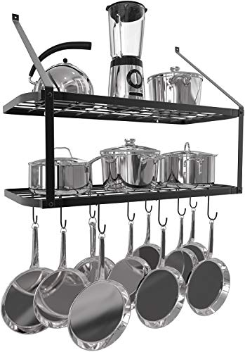 VDOMUS Shelf Pot Rack Wall Mounted Pan Hanging Racks 2 Tire (Black) ()