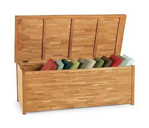 TeakStation Grade-A Teak Wood Outdoor Patio Garden Pool Spa Storage Box