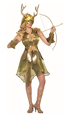 Forum Women's Mythical Huntress Costume Dress with Wristbands, Gold, (Greek Mythical Creatures Costumes)