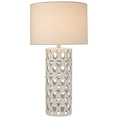 "Amazon Brand – Stone & Beam Ceramic Geometric Cut-Out Table Desk Lamp With LED Light Bulb, 22""H, White - This lamp will bring a touch of glamorous style to your living room or bedroom. The Off White ceramic pillar has geometric cut-outs for an artistic flair. A wide linen shade tops off this modern but graceful style. Ceramic base, polished nickel hardware, and Off White linen shade LED bulb included - lamps, bedroom-decor, bedroom - 41KCG32HGGL. SS400  -"