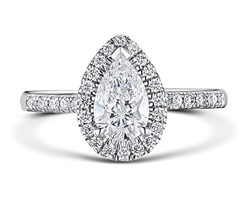 RussianHeartsDiamonds.com PEAR9 TOP Grade 2 Carat Radiant PEAR Cut SONA NSCD Simulated Diamond Ring Halo Design Solid 925 Silver