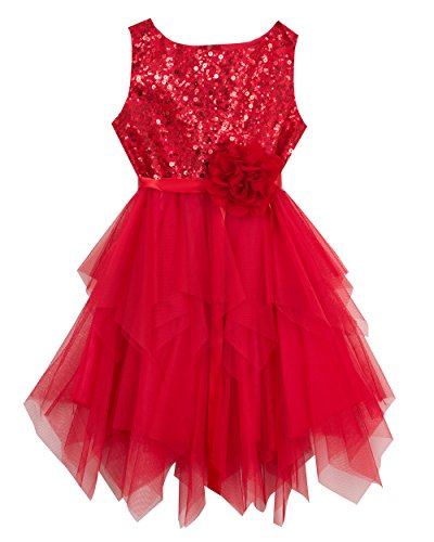 Rare Editions Little Girls' Sequin to Mesh Dress, Red, 4