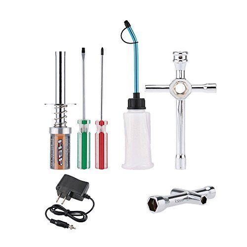 Goolsky Nitro Starter Glow Plug Igniter Charger Tools Fuel Bottle Combo for Redcat HSP Nitro Powered 1/8 1/10 RC Car