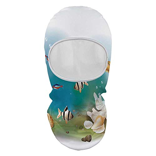 YOLIYANA Aquarium Face Mask,Hawaiian Pacific Fauna with Different Fishes Oceanic Plants and Seashells Decorative for Outdoor,8.6