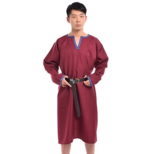 BLESSUME Medieval Knight Tunic Burgundy with Belt