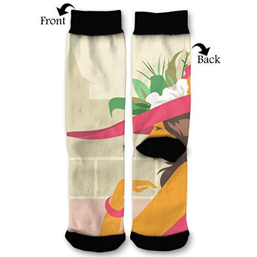 Cartoon Kentucky Derby Hats Socks Funny Fashion Novelty Advanced Moisture Wicking Sock for Man Women ()