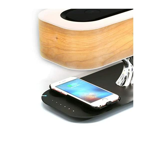 Tree of Light - Bedside Table Lamp with Built-in Bluetooth Speaker and Wireless Charger for Bedroom, Office, Living Room, Stepless Dimming Desk Lamp with Sleep Mode - Elegant Bedside Lamp with Modern Technology - 3 in 1 Stunning Lamp with Built-in Bluetooth Speaker and Wireless Charger for Bedroom, Office, Living Room. Unique and Stunning Design - Built-In powerful Bluetooth speaker delivering Omni-Directional sound featuring preeminent performance from our dual wave-guide technology. LED Dimming Light with Touch Control - Switch the Light ON /OFF with a light touch. Press and hold the touch area for 3 seconds for Sleep Mode and light will turn off within 30 mins. - lamps, bedroom-decor, bedroom - 41KCH3M51RL. SS570  -