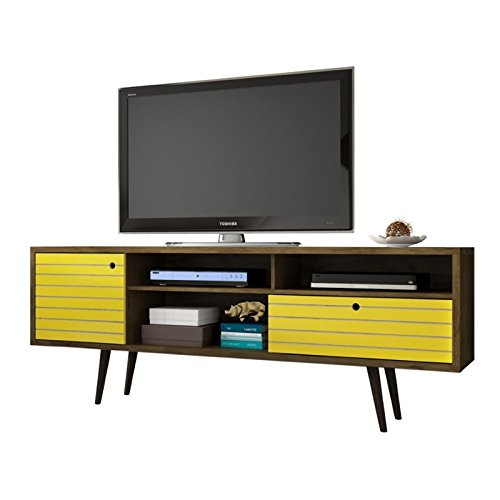 Liberty Pedestal (Manhattan Comfort Liberty Collection Mid Century Modern TV Stand With Three Shelves, One Cabinet and One Drawer With Splayed Legs, Yellow/Wood)