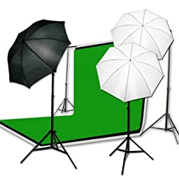 ePhoto 3 x Muslins Backdrop Background Support System Studio Photography Video Lighting Kit H4046
