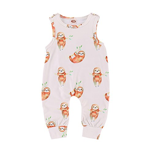 (XiaoReddou Baby Summer Sleeveless Romper Animals Print Bodysuit One-Pieces Outfits (White, 0-6 Months) )