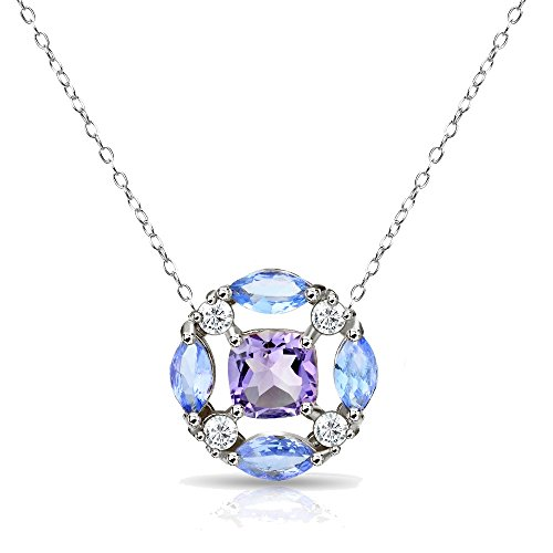 GemStar USA Sterling Silver African Amethyst and Tanzanite Tonal Necklace with White Topaz Accents
