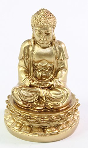 Buy cheap feng shui gold meditating buddha figurines peace luck prosperity statues paperweights gift home decor housewarming