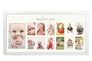 Baby's First Year Frame in Elegant White Natural Wood - My First Year Baby Picture Frame for Photo Memories