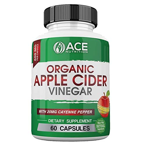 100% Natural Raw Apple Cider Vinegar Capsules (600mg | 60 Capsules) Organic, Vegan Non-GMO Apple Cider Vinegar with Cayenne Pepper for Fast Weight Loss Cleanse, Appetite Suppressant & Metabolism Boost (Garcinia Cambogia Pills And Apple Cider Vinegar Recipe)