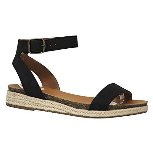 Womens Comfort Flat Sandal Espadrille Ankle Strap Buckle Faux Leather Studded Open Toe Summer Slingback Platform Sandals (Black,7 M US)