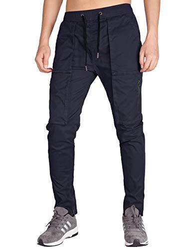 ITALY MORN Men's Chino Cargo Four Bellows Casual Pants XL Dark Blue