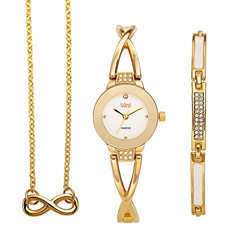 Burgi Women's Jewelry Gift Set - Flash Plated Gold Half Bangle Diamond Watch, Infinity Pendant Necklace and Swarovski Crystal Bracelet - BUR213YG-S