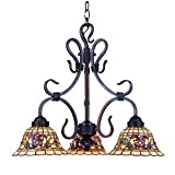 Elk 363-Va Tiffany Buckingham 3-Light Chandelier, 20-Inch, Vintage Antique With Tiffany Style Glass For Sale