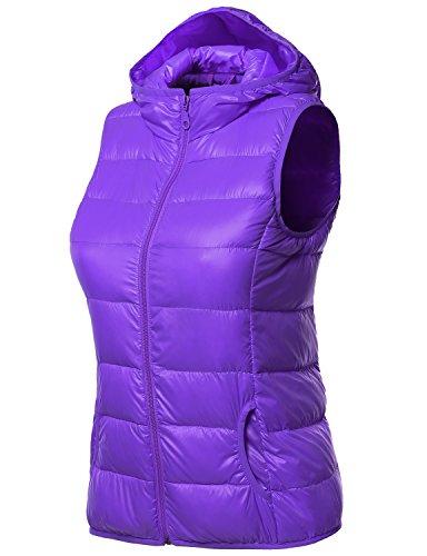 Women's Lightweight Packable Zip Puffy Down Vest PURPLE S...