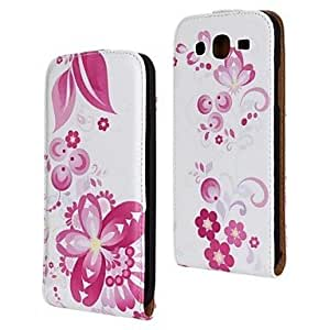 LIMME Red Flower Pattern PU Leather Full Body Case for Samsung Galaxy Mega 5.8 I9150