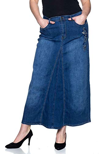 - Women's Plus Size Mid Rise A-Line Long Jeans Maxi Denim Embroidered Skirt in Washed Blue Size 2XL
