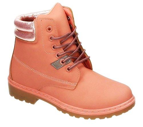 King Of Shoes Bequeme Damen Stiefeletten Worker Schnürboots Outdoor Schnürstiefel Kurzschaft 190 Pink
