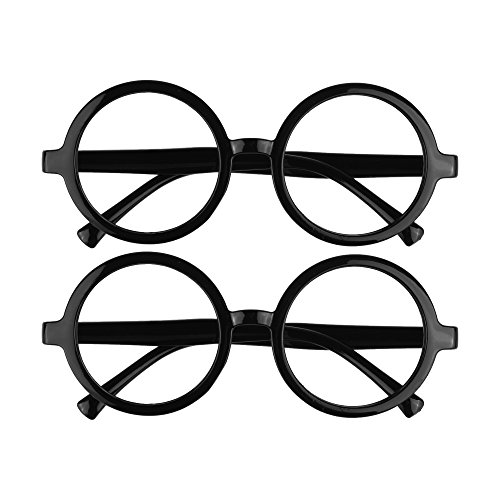 BCP 2 Pieces Plastic Wizard Glasses Round Glasses Frame No Lenses for Costume Party Supplies Black Color ()