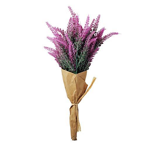 1PC Fake Lavender Bouquet Artificial Flowers Plant, Wedding Lavender Bridesmaid Bouquet with Wrapping Paper for Hydrangea Silk Flowers Fake flowers Arrangements,Home Decor, Table Decor,-Red rose (Lavender Bouquet Rose)