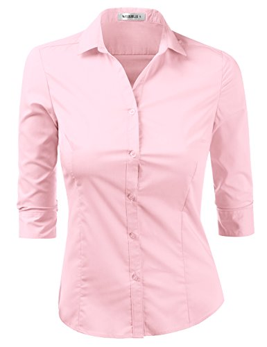 Doublju Womens Plus Size Simple Solid 3/4 Sleeve Button Down Dress Shirt BabyPink 2XL (Sleeve Button Front Dress)