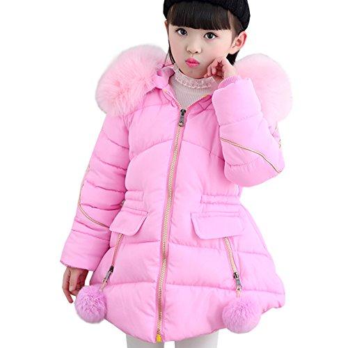 Girls Overcoat - LSERVER Little Big Girl Winter Parka Warm Down Coat Puffer Jacket Down Cotton Padded Overcoat With Fur Hood