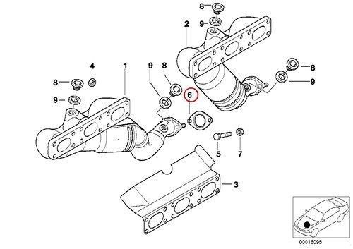 2 X BMW Genuine Exhaust Manifold Gasket - Manifold/Catalyst to Center Muffler E3 525i 530i 320i 325Ci 325i 325xi 330Ci 330i 330xi X5 3.0i 525i 530i X5 3.0si X3 2.5i X3 3.0i Z4 2.5i Z4 3.0i Z3 2.5i Z3 3.0i