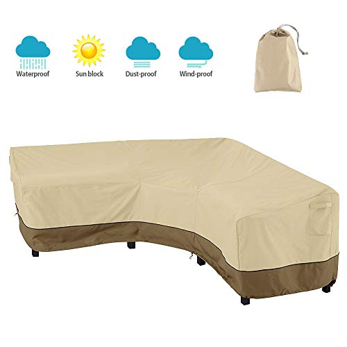 BullStar Patio Sectional Furniture Cover 420D V-Shaped Outdoor Sofa Cover Waterproof Garden Couch Protector