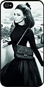 mila kunis photo shoot - Hard Black Plastic Snap - On Case with Soft Black Rubber Lining-Apple Iphone 4 - 4s - Great Quality!