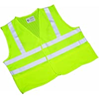 SKILCRAFT 8415-01-598-4870 Safety Vest with Silver Reflective Tape and Front Closure, X-Large, Lime
