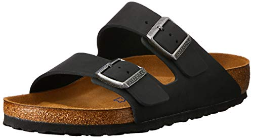 Birkenstock Men's Arizona SF 2-Strap Soft Cork Footbed Sandal Black 41 M EU