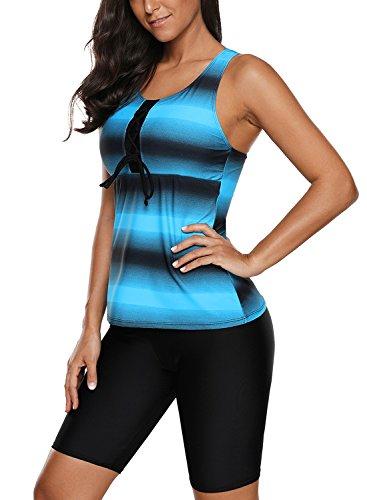 Aleumdr Womens Racerback Color Block Print Tankini Swimsuits with Swim Capris.