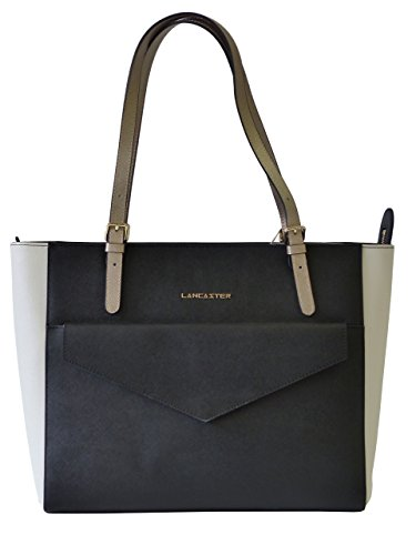 Lancaster Tasche Adeline Enveloppe Tote Bag 527-13-NOIR_IC Damen Leder Handtasche Schultertasche Schwarz/Weiß ( 33 cm x 27,50 cm x 15 cm)