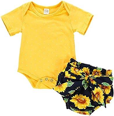 Cute Newborn Baby Girl Kids Romper Jumpsuit Bodysuit Sunflower Clothes Outfits