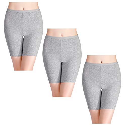 wirarpa Womens Anti Chafing Cotton Underwear Boy Shorts Long Leg Under Dresses Biker Short Leggings 3 Pack Heather Gray Size 7 ()