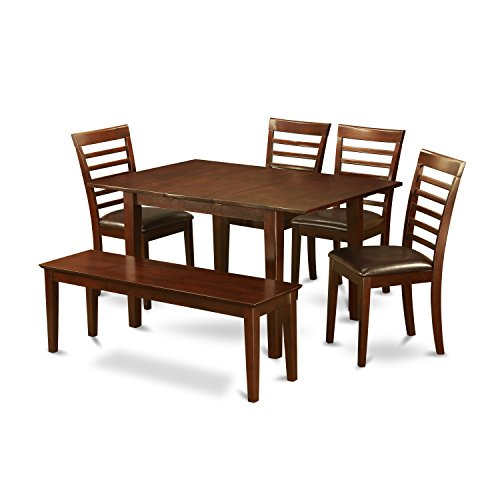 (East West Furniture PSML6D-MAH-LC 6-Piece Kitchen Table Set, Mahogany Finish, Faux Leather Seat,)